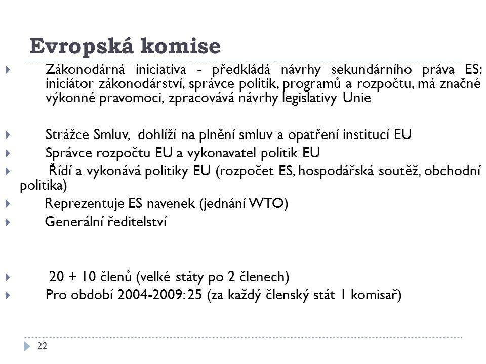 22 Evropská komise  Zákonodárná iniciativa - předkládá návrhy sekundárního práva ES: iniciátor zákonodárství, správce politik, programů a rozpočtu, m