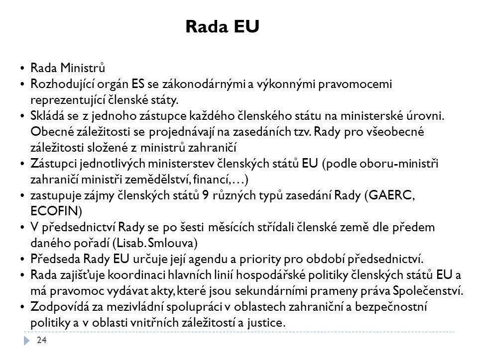 24 Rada EU Rada Ministrů Rozhodující orgán ES se zákonodárnými a výkonnými pravomocemi reprezentující členské státy. Skládá se z jednoho zástupce každ