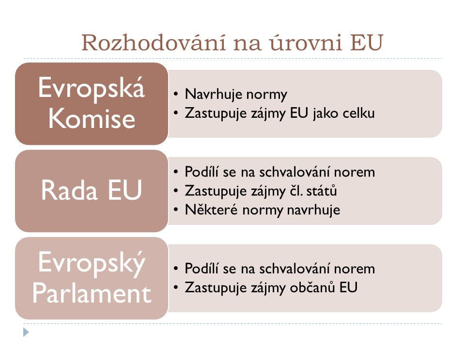 Rozhodování na úrovni EU Navrhuje normy Zastupuje zájmy EU jako celku Evropská Komise Podílí se na schvalování norem Zastupuje zájmy čl. států Některé