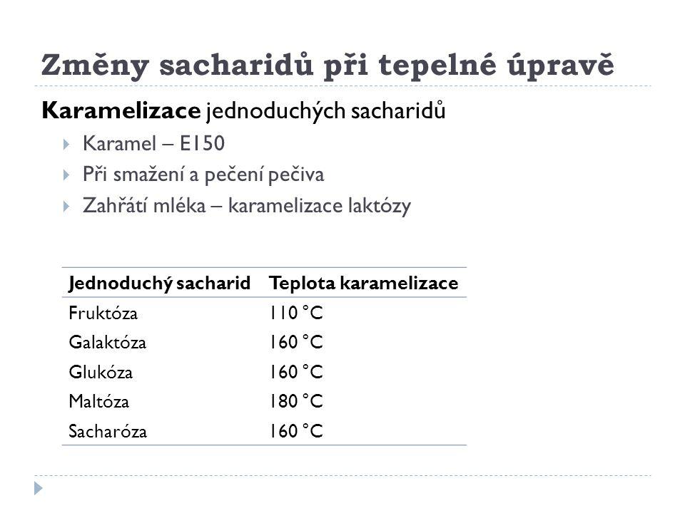 Změny sacharidů při tepelné úpravě Karamelizace jednoduchých sacharidů  Karamel – E150  Při smažení a pečení pečiva  Zahřátí mléka – karamelizace l