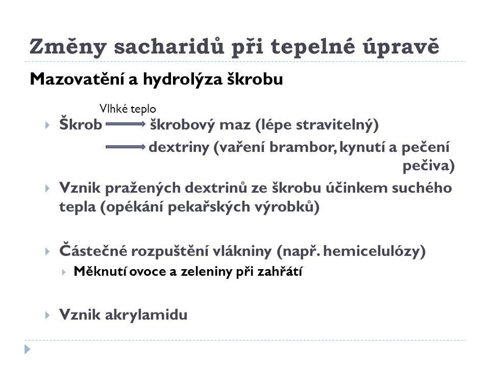 Změny sacharidů při tepelné úpravě Mazovatění a hydrolýza škrobu  Škrob škrobový maz (lépe stravitelný) dextriny (vaření brambor, kynutí a pečení peč