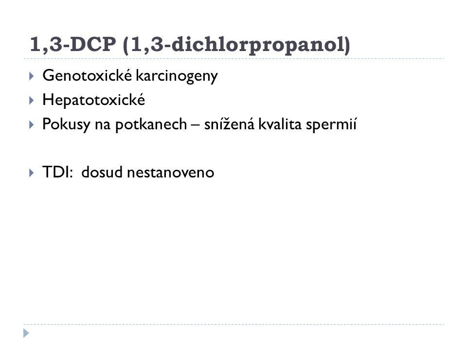 1,3-DCP (1,3-dichlorpropanol)  Genotoxické karcinogeny  Hepatotoxické  Pokusy na potkanech – snížená kvalita spermií  TDI: dosud nestanoveno