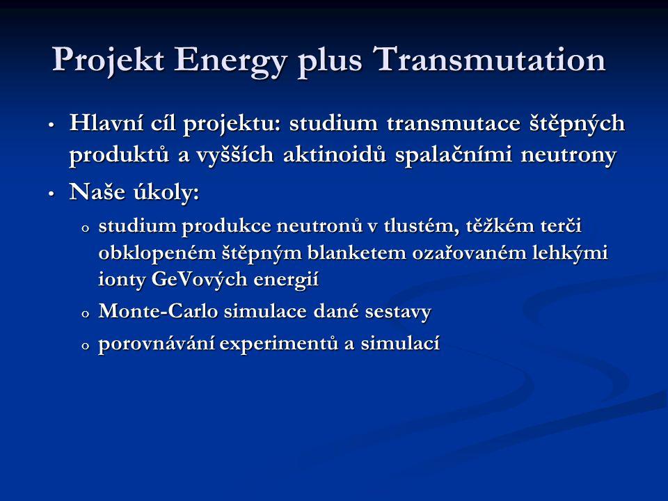 Projekt Energy plus Transmutation Hlavní cíl projektu: studium transmutace štěpných produktů a vyšších aktinoidů spalačními neutrony Hlavní cíl projektu: studium transmutace štěpných produktů a vyšších aktinoidů spalačními neutrony Naše úkoly: Naše úkoly: o studium produkce neutronů v tlustém, těžkém terči obklopeném štěpným blanketem ozařovaném lehkými ionty GeVových energií o Monte-Carlo simulace dané sestavy o porovnávání experimentů a simulací