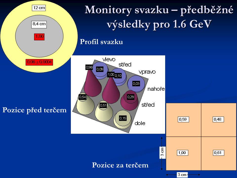 Monitory svazku – předběžné výsledky pro 1.6 GeV Profil svazku Pozice za terčem Pozice před terčem