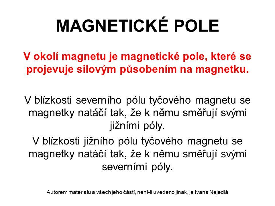 MAGNETICKÉ POLE V okolí magnetu je magnetické pole, které se projevuje silovým působením na magnetku.