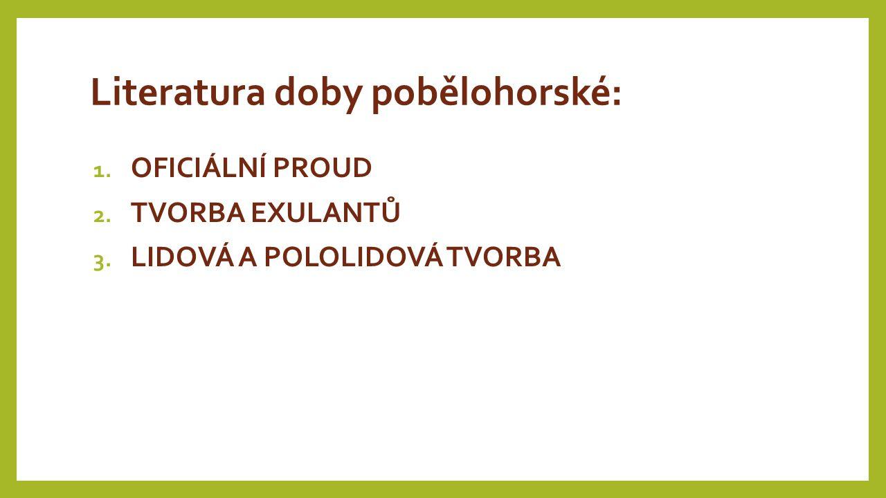 Literatura doby pobělohorské: 1. OFICIÁLNÍ PROUD 2. TVORBA EXULANTŮ 3. LIDOVÁ A POLOLIDOVÁ TVORBA