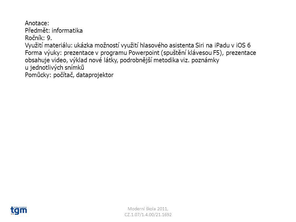 Anotace: Předmět: informatika Ročník: 9.