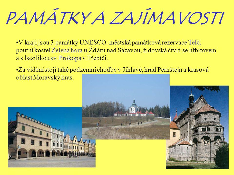 ZÁVĚREČNÉ SHRNUTÍ krajské město : Jihlava V kraji se těží uran (Dolní Rožínka ), je zde i jaderná elektrárna Dukovany,vodní elektrárny Mohelno a Dalešice-nejvyšší sypaná hráz v ČR.