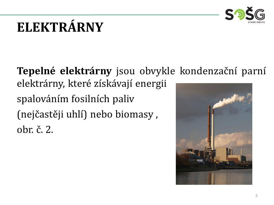 ELEKTRÁRNY Tepelné elektrárny jsou obvykle kondenzační parní elektrárny, které získávají energii spalováním fosilních paliv (nejčastěji uhlí) nebo biomasy, obr.