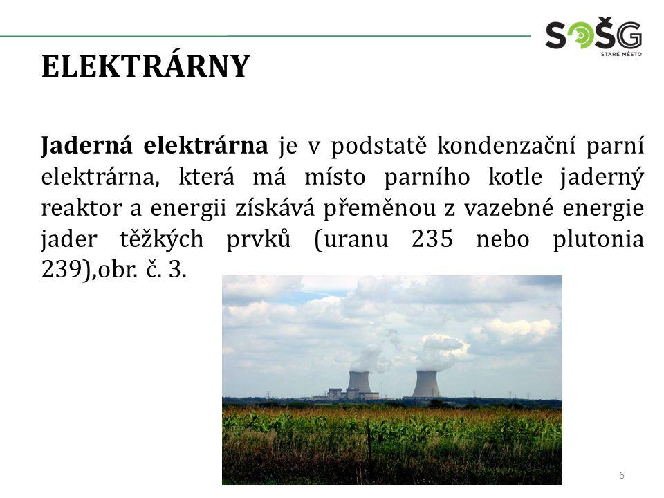 ELEKTRÁRNY Jaderná elektrárna je v podstatě kondenzační parní elektrárna, která má místo parního kotle jaderný reaktor a energii získává přeměnou z vazebné energie jader těžkých prvků (uranu 235 nebo plutonia 239),obr.