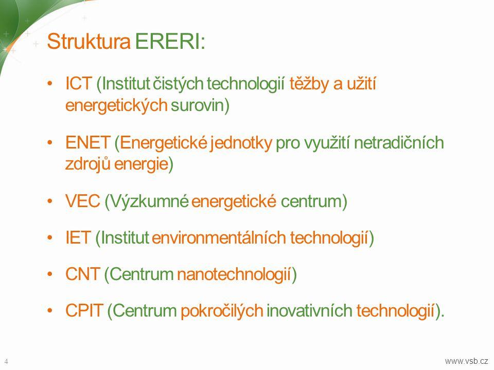 4 www.vsb.cz Struktura ERERI: ICT (Institut čistých technologií těžby a užití energetických surovin) ENET (Energetické jednotky pro využití netradičních zdrojů energie) VEC (Výzkumné energetické centrum) IET (Institut environmentálních technologií) CNT (Centrum nanotechnologií) CPIT (Centrum pokročilých inovativních technologií).