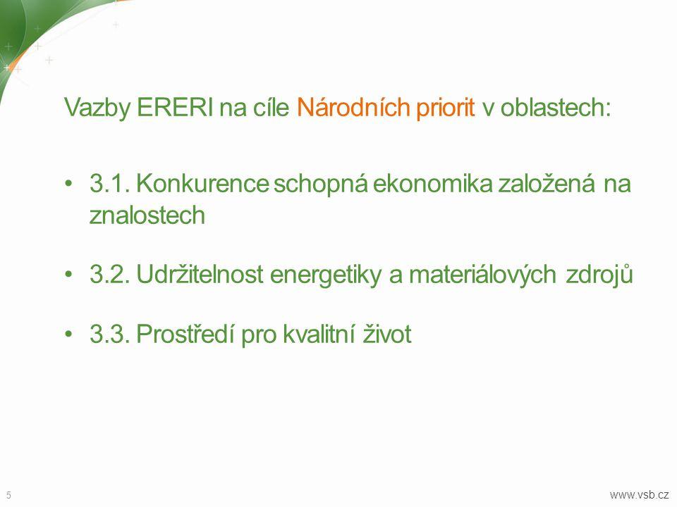5 www.vsb.cz Vazby ERERI na cíle Národních priorit v oblastech: 3.1.