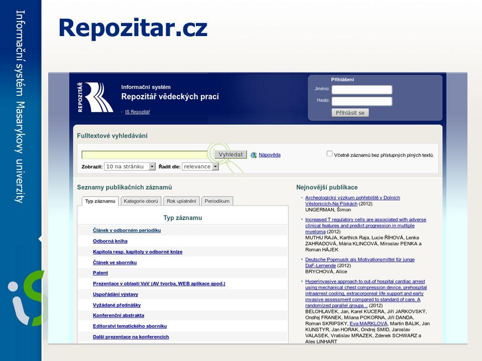 Informační systém Masarykovy univerzity Repozitar.cz