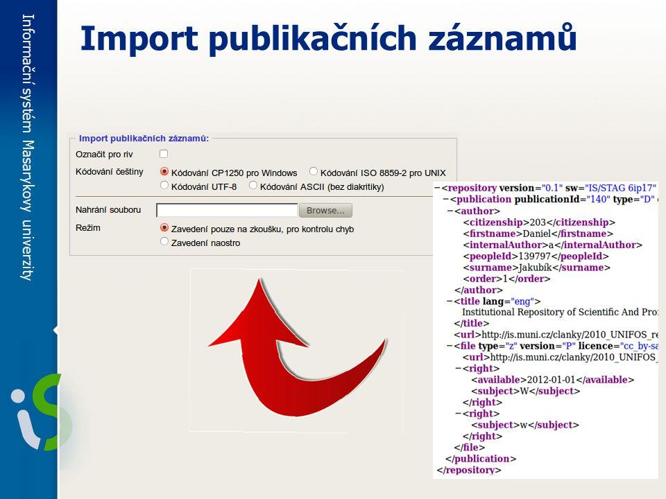 Informační systém Masarykovy univerzity Import publikačních záznamů