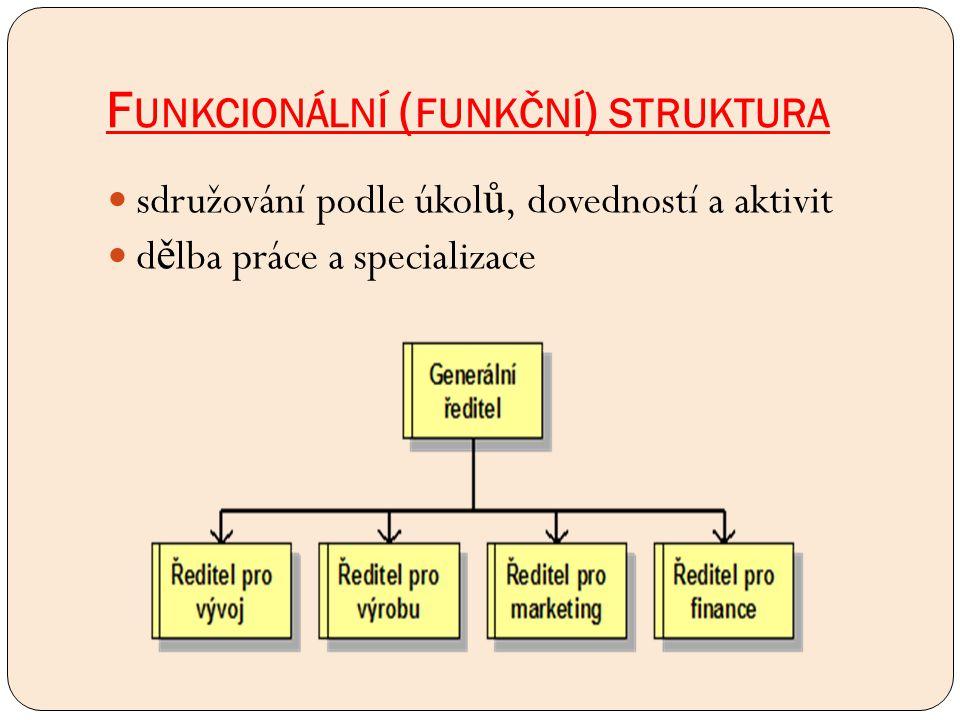 F UNKCIONÁLNÍ ( FUNKČNÍ ) STRUKTURA sdružování podle úkol ů, dovedností a aktivit d ě lba práce a specializace