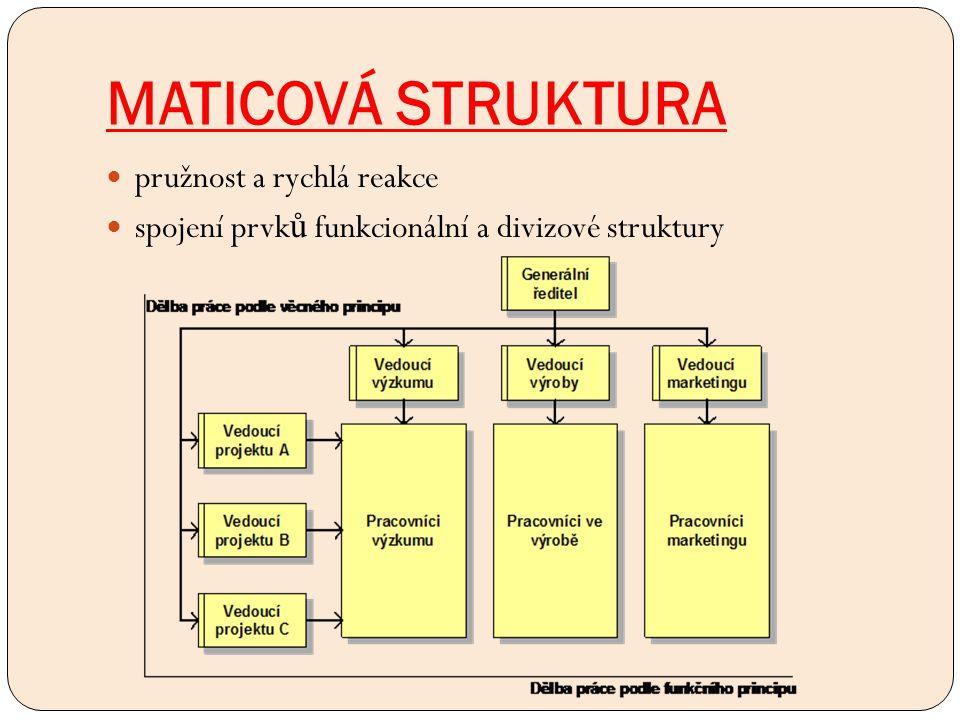 MATICOVÁ STRUKTURA pružnost a rychlá reakce spojení prvk ů funkcionální a divizové struktury