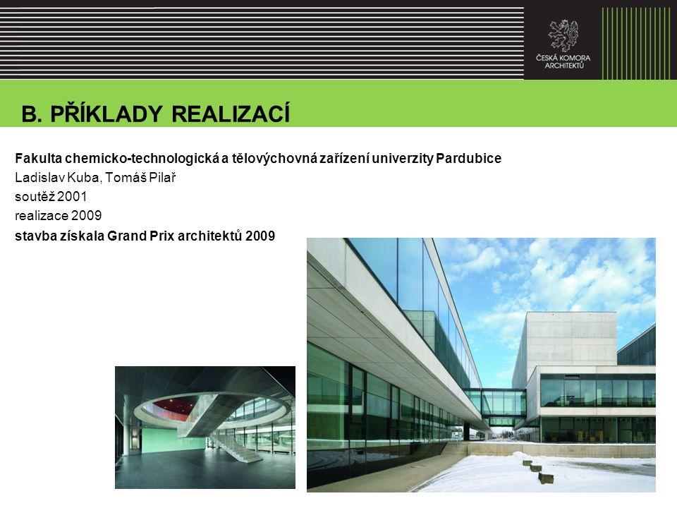 Fakulta chemicko-technologická a tělovýchovná zařízení univerzity Pardubice Ladislav Kuba, Tomáš Pilař soutěž 2001 realizace 2009 stavba získala Grand Prix architektů 2009 B.