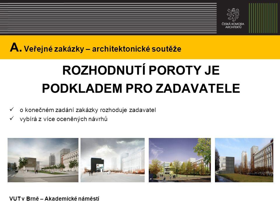 A. Veřejné zakázky – architektonické soutěže ROZHODNUTÍ POROTY JE PODKLADEM PRO ZADAVATELE o konečném zadání zakázky rozhoduje zadavatel vybírá z více