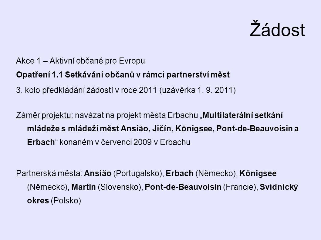 Žádost Akce 1 – Aktivní občané pro Evropu Opatření 1.1 Setkávání občanů v rámci partnerství měst 3.