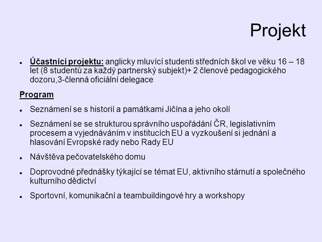 Projekt Účastníci projektu: anglicky mluvící studenti středních škol ve věku 16 – 18 let (8 studentů za každý partnerský subjekt)+ 2 členové pedagogického dozoru,3-členná oficiální delegace Program Seznámení se s historií a památkami Jičína a jeho okolí Seznámení se se strukturou správního uspořádání ČR, legislativním procesem a vyjednáváním v institucích EU a vyzkoušení si jednání a hlasování Evropské rady nebo Rady EU Návštěva pečovatelského domu Doprovodné přednášky týkající se témat EU, aktivního stárnutí a společného kulturního dědictví Sportovní, komunikační a teambuildingové hry a workshopy