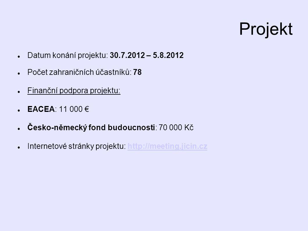 Projekt Datum konání projektu: 30.7.2012 – 5.8.2012 Počet zahraničních účastníků: 78 Finanční podpora projektu: EACEA: 11 000 € Česko-německý fond budoucnosti: 70 000 Kč Internetové stránky projektu: http://meeting.jicin.czhttp://meeting.jicin.cz