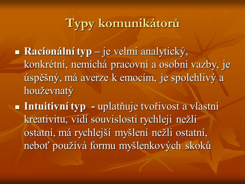 Typy komunikátorů Racionální typ – je velmi analytický, konkrétní, nemíchá pracovní a osobní vazby, je úspěšný, má averze k emocím, je spolehlivý a ho