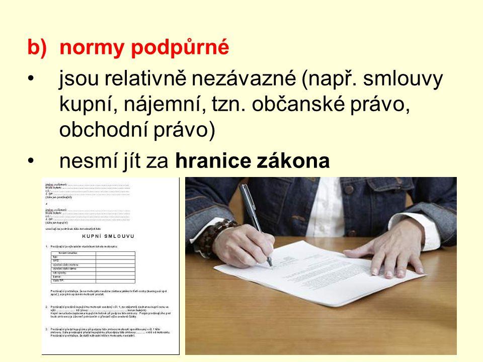 b)normy podpůrné jsou relativně nezávazné (např. smlouvy kupní, nájemní, tzn. občanské právo, obchodní právo) nesmí jít za hranice zákona