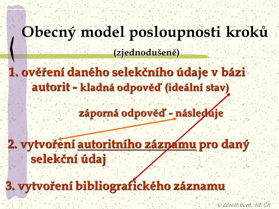 © Zdeněk Bartl, NK ČR Obecný model posloupnosti kroků (zjednodušeně) 1. ověření daného selekčního údaje v bázi autorit - kladná odpověď (ideální stav)