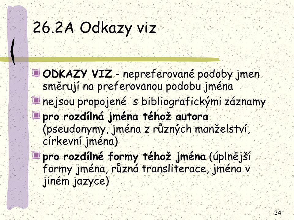 24 26.2A Odkazy viz ODKAZY VIZ - nepreferované podoby jmen směrují na preferovanou podobu jména nejsou propojené s bibliografickými záznamy pro rozdílná jména téhož autora (pseudonymy, jména z různých manželství, církevní jména) pro rozdílné formy téhož jména (úplnější formy jména, různá transliterace, jména v jiném jazyce)