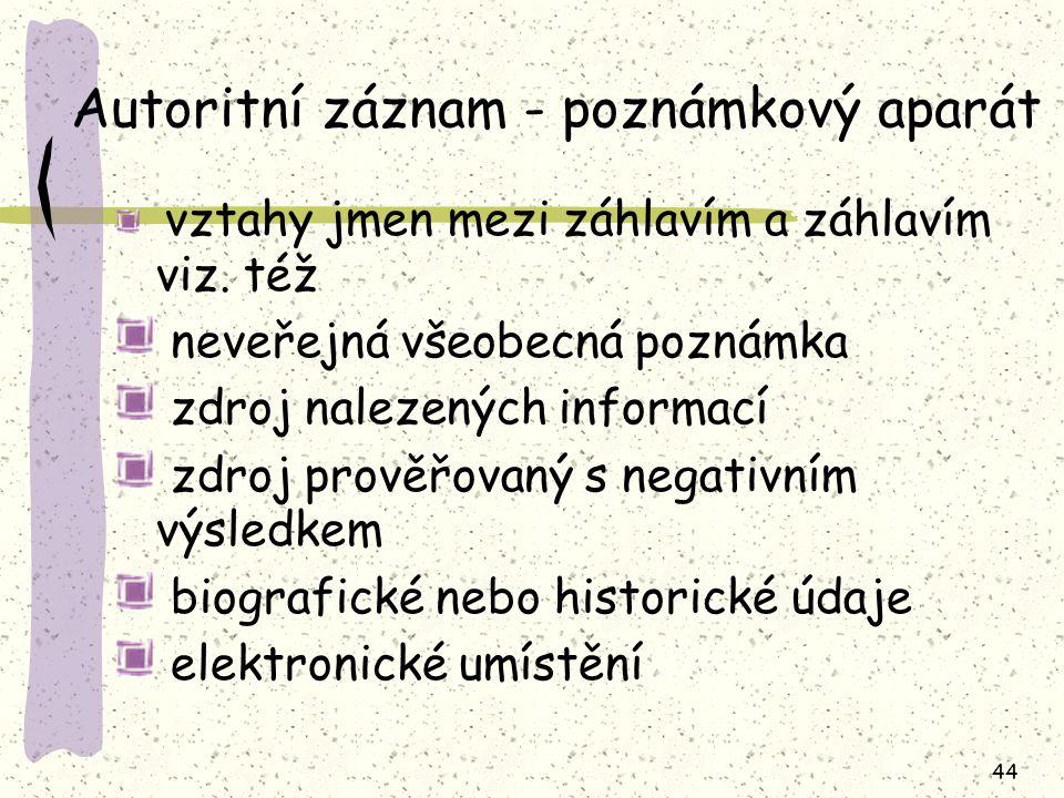 44 Autoritní záznam - poznámkový aparát vztahy jmen mezi záhlavím a záhlavím viz.
