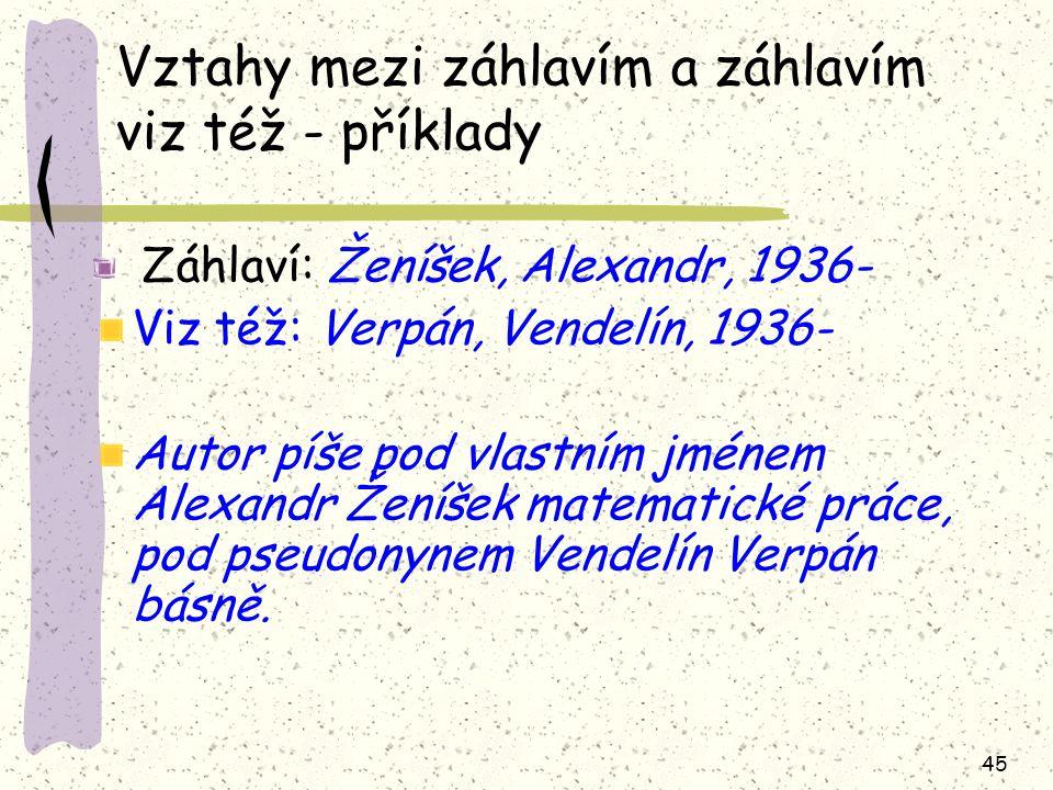 45 Vztahy mezi záhlavím a záhlavím viz též - příklady Záhlaví: Ženíšek, Alexandr, 1936- Viz též: Verpán, Vendelín, 1936- Autor píše pod vlastním jménem Alexandr Ženíšek matematické práce, pod pseudonynem Vendelín Verpán básně.