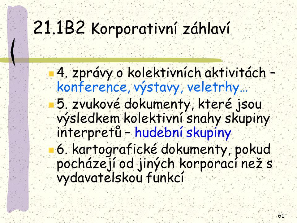 61 21.1B2 Korporativní záhlaví 4. zprávy o kolektivních aktivitách – konference, výstavy, veletrhy… 5. zvukové dokumenty, které jsou výsledkem kolekti