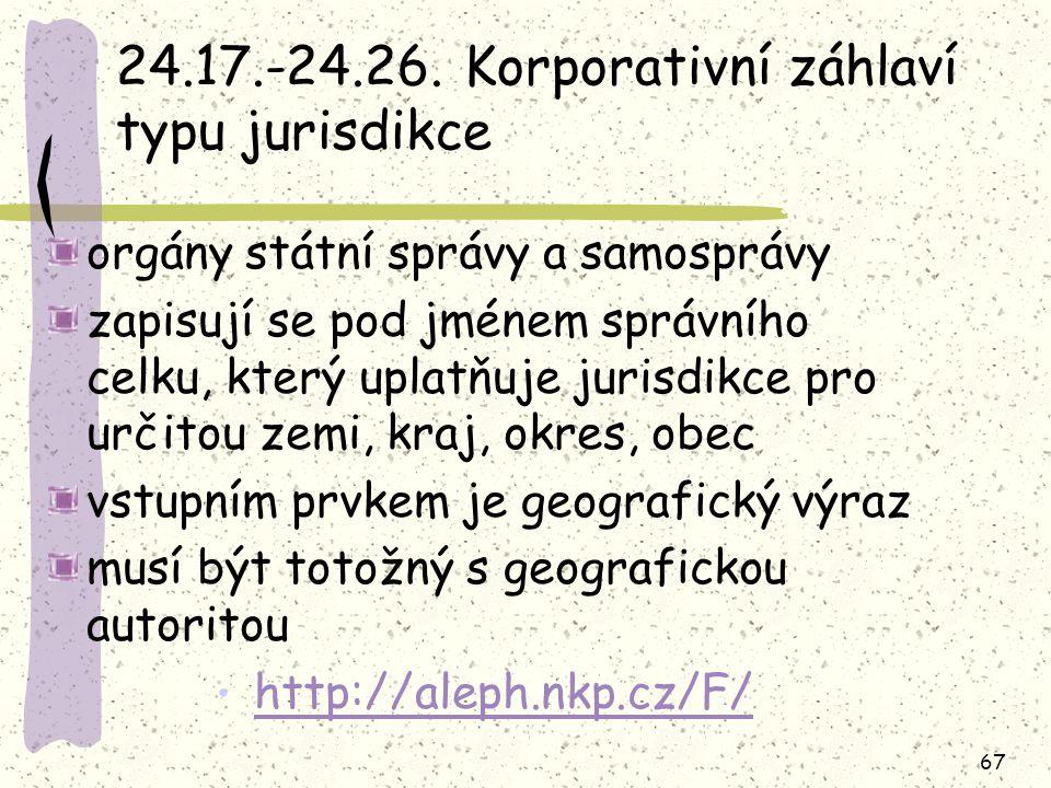 67 24.17.-24.26. Korporativní záhlaví typu jurisdikce orgány státní správy a samosprávy zapisují se pod jménem správního celku, který uplatňuje jurisd