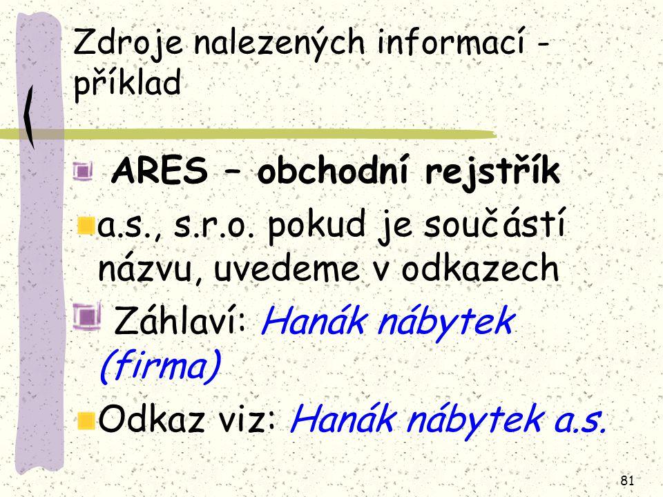 81 Zdroje nalezených informací - příklad ARES – obchodní rejstřík a.s., s.r.o. pokud je součástí názvu, uvedeme v odkazech Záhlaví: Hanák nábytek (fir