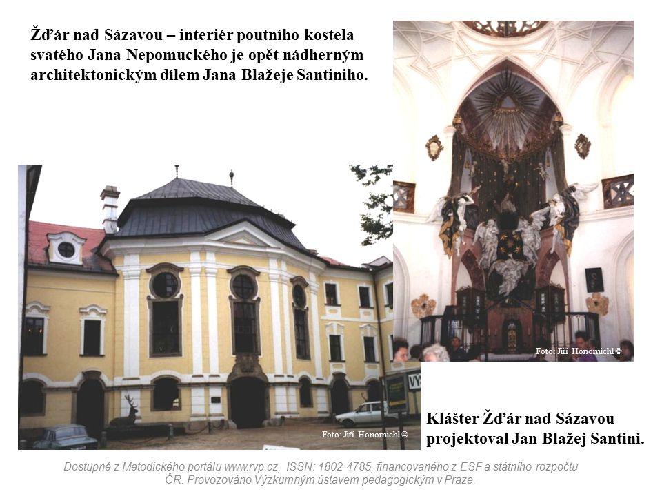 Klášter Žďár nad Sázavou projektoval Jan Blažej Santini. Žďár nad Sázavou – interiér poutního kostela svatého Jana Nepomuckého je opět nádherným archi