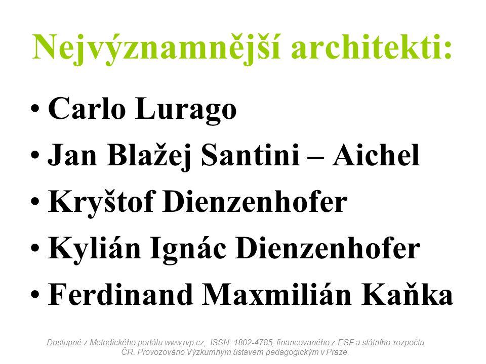 Nejvýznamnější architekti: Carlo Lurago Jan Blažej Santini – Aichel Kryštof Dienzenhofer Kylián Ignác Dienzenhofer Ferdinand Maxmilián Kaňka