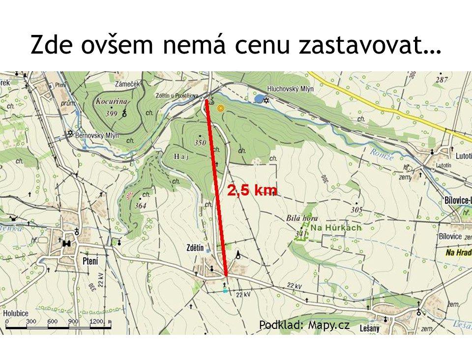 Zde ovšem nemá cenu zastavovat… Podklad: Mapy.cz