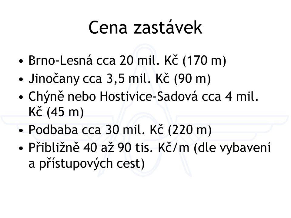 Cena zastávek Brno-Lesná cca 20 mil. Kč (170 m) Jinočany cca 3,5 mil.