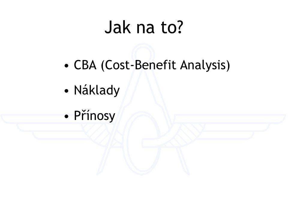 Jak na to? CBA (Cost-Benefit Analysis) Náklady Přínosy