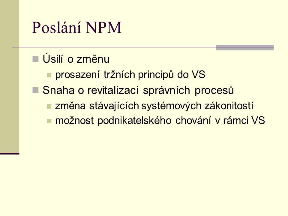 Poslání NPM Úsilí o změnu prosazení tržních principů do VS Snaha o revitalizaci správních procesů změna stávajících systémových zákonitostí možnost po