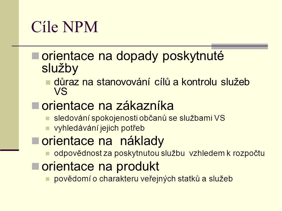 Cíle NPM orientace na dopady poskytnuté služby důraz na stanovování cílů a kontrolu služeb VS orientace na zákazníka sledování spokojenosti občanů se