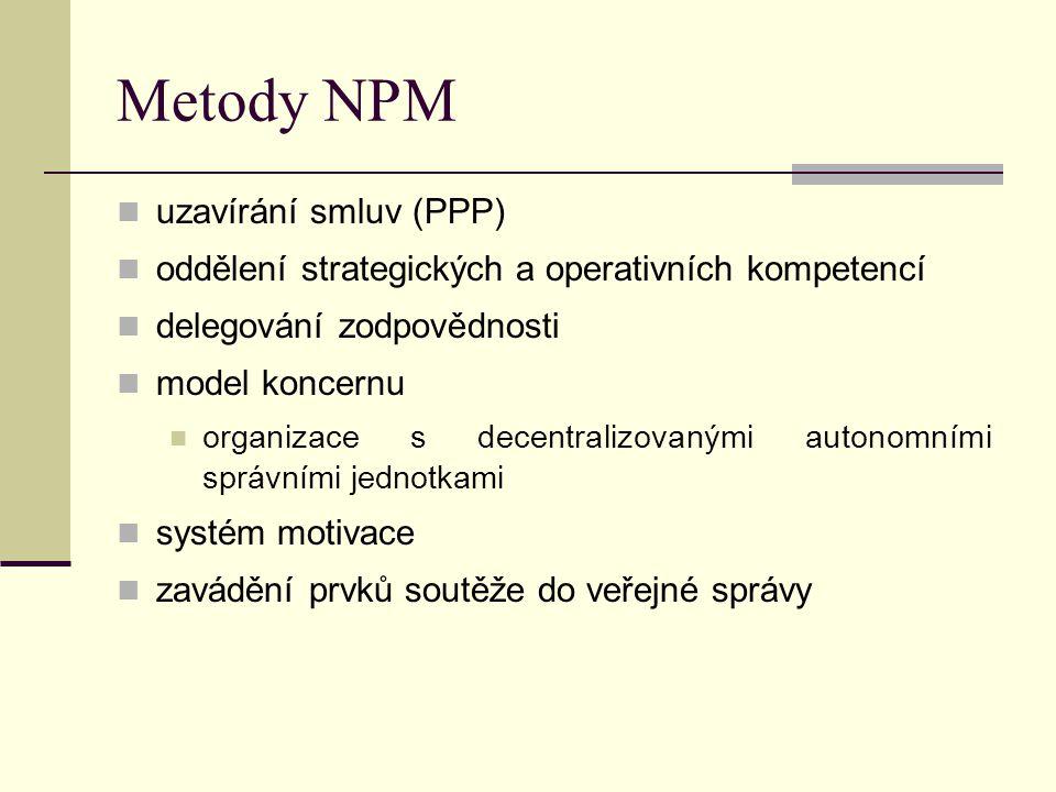 Metody NPM uzavírání smluv (PPP) oddělení strategických a operativních kompetencí delegování zodpovědnosti model koncernu organizace s decentralizovan