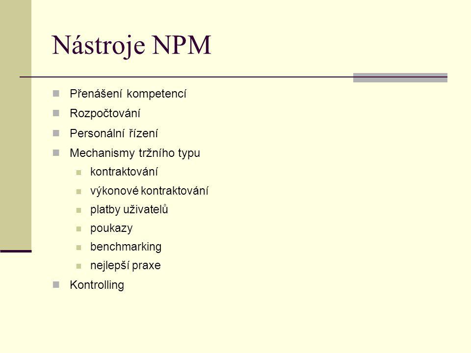 Nástroje NPM Přenášení kompetencí Rozpočtování Personální řízení Mechanismy tržního typu kontraktování výkonové kontraktování platby uživatelů poukazy