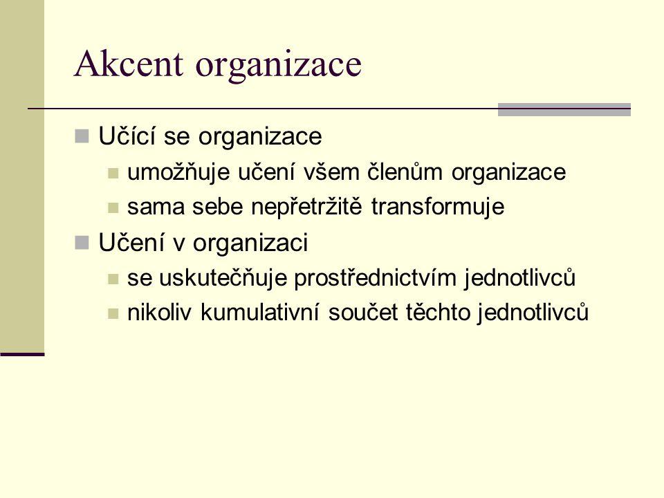 Akcent organizace Učící se organizace umožňuje učení všem členům organizace sama sebe nepřetržitě transformuje Učení v organizaci se uskutečňuje prost