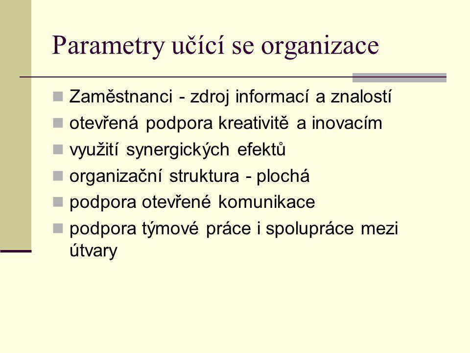 Parametry učící se organizace Zaměstnanci - zdroj informací a znalostí otevřená podpora kreativitě a inovacím využití synergických efektů organizační