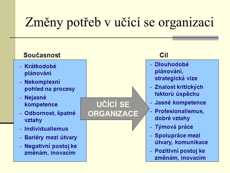 Změny potřeb v učící se organizaci SoučasnostCíl -Krátkodobé plánování -Nekomplexní pohled na procesy -Nejasné kompetence -Odbornost, špatné vztahy -I