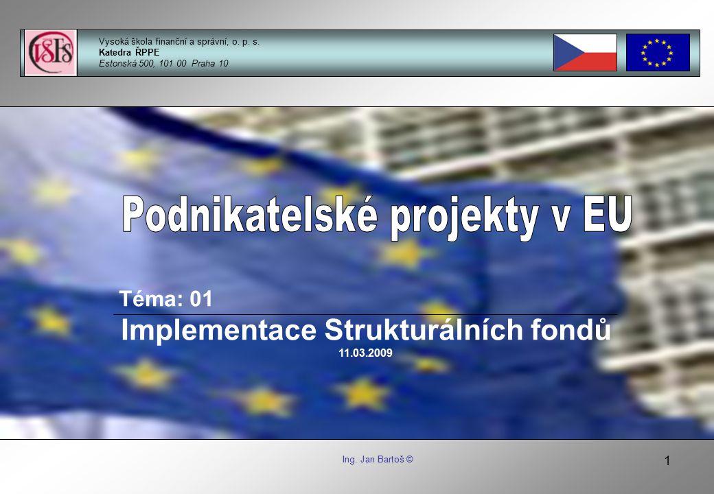 22 Princip subsidiarity » Jednotlivé cíle mají být plněny na co nejnižší možné úrovni Podnikatelské projekty EU BLOK 01: Implementace strukturálních fondů Ing.