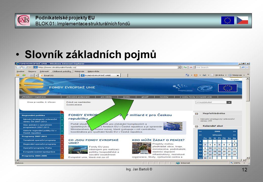 12 Slovník základních pojmů Podnikatelské projekty EU BLOK 01: Implementace strukturálních fondů Ing.