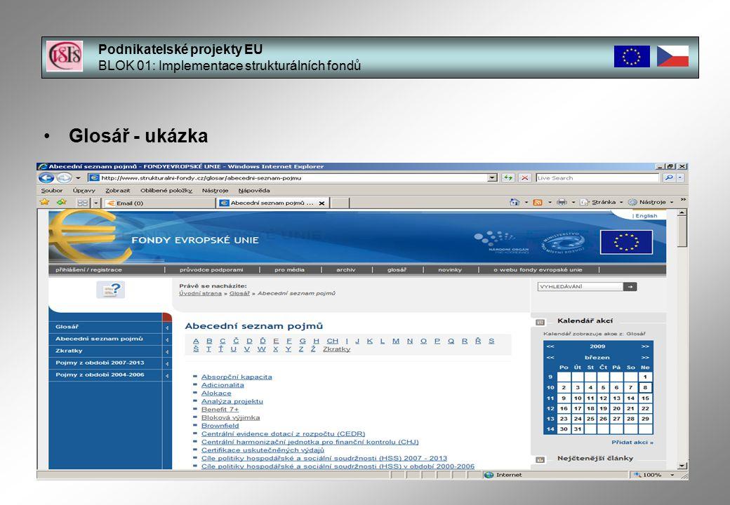 14 Glosář - ukázka Podnikatelské projekty EU BLOK 01: Implementace strukturálních fondů Ing.
