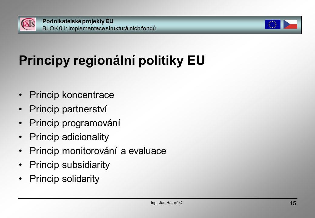 15 Principy regionální politiky EU Princip koncentrace Princip partnerství Princip programování Princip adicionality Princip monitorování a evaluace Princip subsidiarity Princip solidarity Podnikatelské projekty EU BLOK 01: Implementace strukturálních fondů Ing.